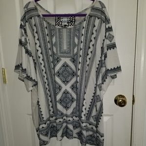 Catherines Navy and White Aztec Tunic Size 4x